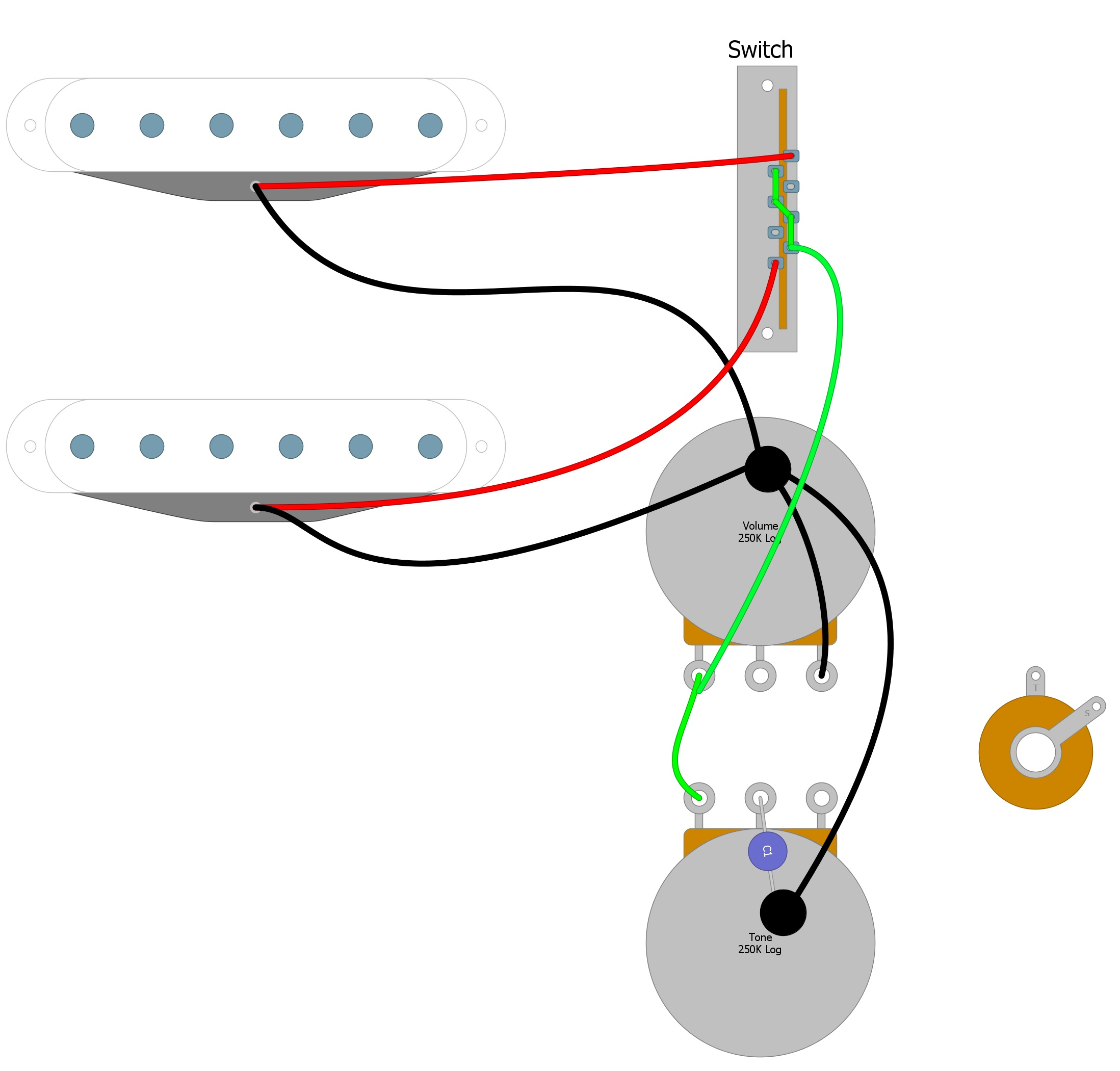 Electric Guitar Wiring Diagram Two Pickup from humbuckersoup.com